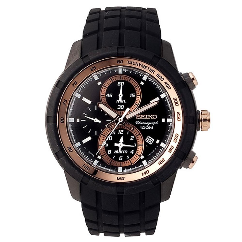 SEIKO 自我極限鬧鈴賽車錶-黑x金(SNAD88P1)45mm