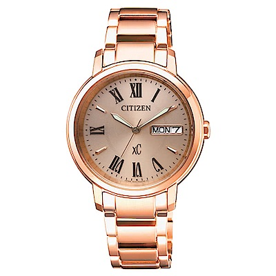 CITIZEN 星辰限定xC甜美知性光動能計時腕錶-玫瑰金EW2422-55X