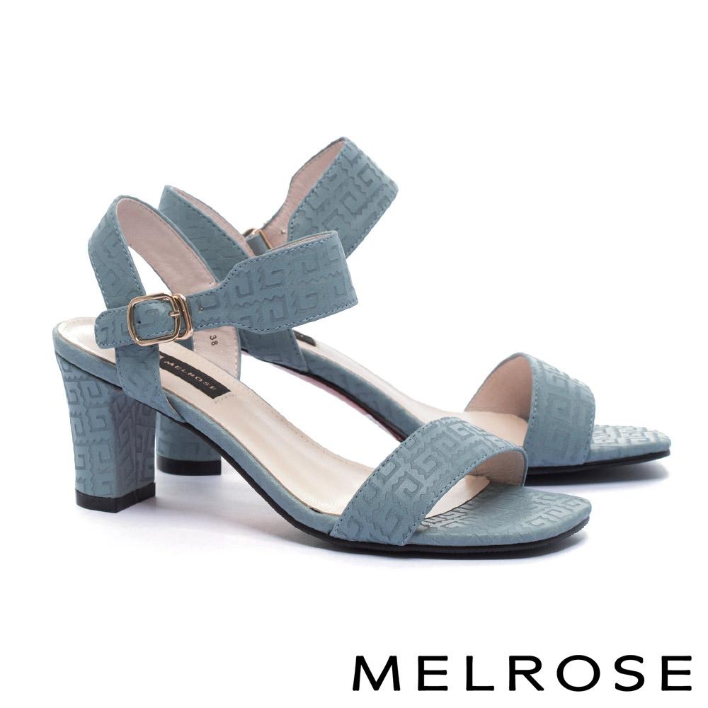 涼鞋 MELROSE 簡約細緻一字帶刀割牛皮粗高跟涼鞋-藍