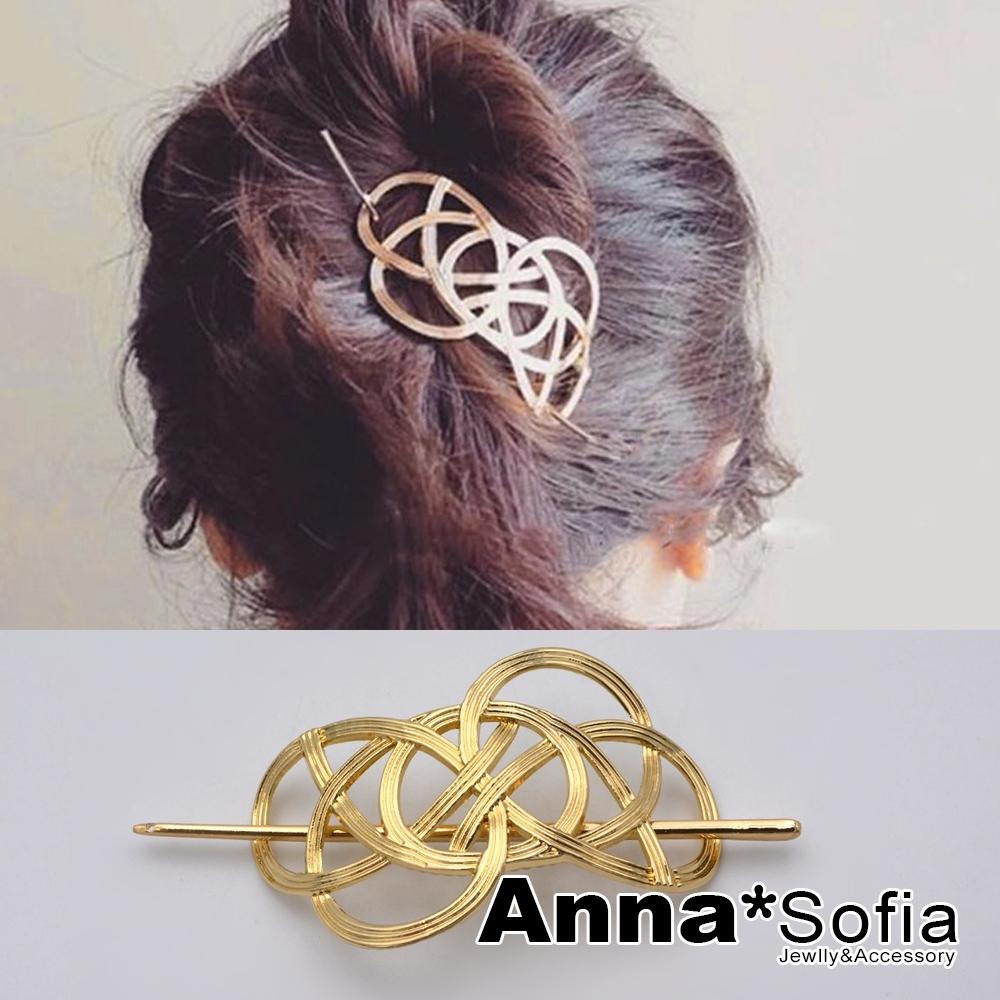 AnnaSofia 古典線結 髮飾髮夾髮簪盤髮器(金系)