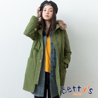 betty's貝蒂思 連帽軍風鋪棉大衣(綠色)
