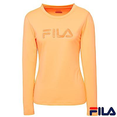 FILA女抗UV吸排T恤-粉桔5TER-5314-OR
