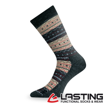 【LASTING捷克】男女款美麗諾羊毛抗菌除臭吸濕排汗中筒健行襪/厚襪LT-TWP卡其條