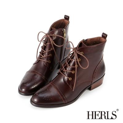 HERLS短靴-真皮雕花綁帶牛津靴短靴-深棕色