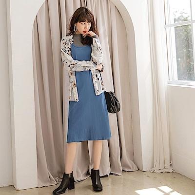 雪紡微透幾何襯衫高含棉細肩洋裝套裝-OB嚴選