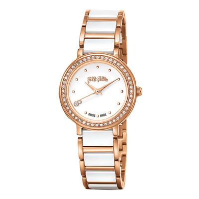 Folli Follie 夢幻晶鑽陶瓷腕錶-白x玫瑰金(WF15B011BSW-XX)