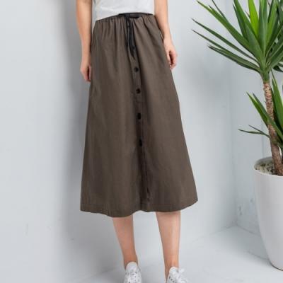 【白鵝buyer】百搭100%棉七分寬裙_咖啡