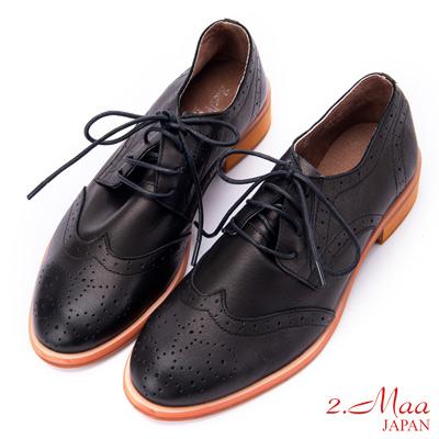 2.Maa (偏小)英倫紳士綁帶羊皮雕花牛津鞋 - 黑