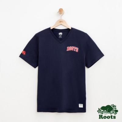 男裝Roots 休閒V領短袖T恤-藍