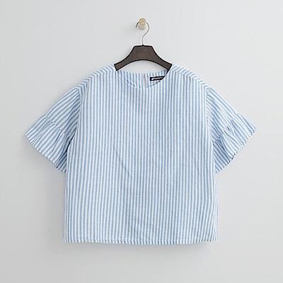 Hang Ten - 女裝 - 甜美荷葉袖條紋上衣-藍色