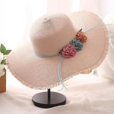 米蘭精品 草帽防曬遮陽帽-夏季時尚優雅大帽簷女帽子母親節禮物73rp80