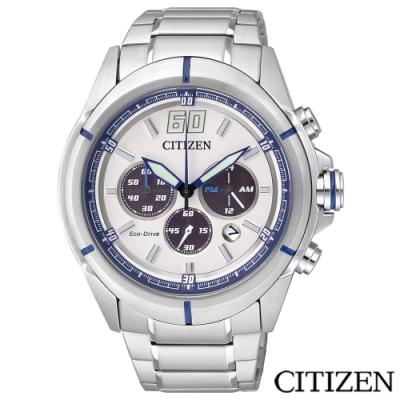 CITIZEN星辰 Eco-Drive率性三眼光動能男士手錶-CA4100-57A