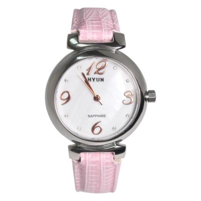 HYUN炫 珍珠母貝鱷魚皮紋錶-粉