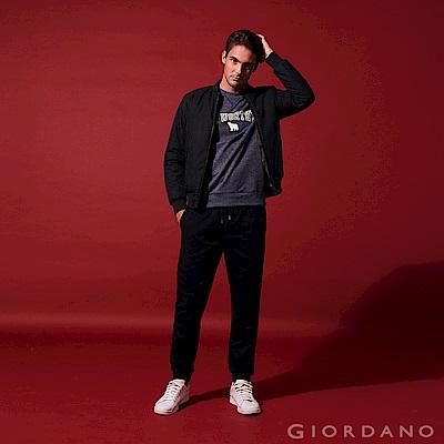 GIORDANO 男裝彈力棉修身鬆緊腰休閒長褲-09 標誌黑