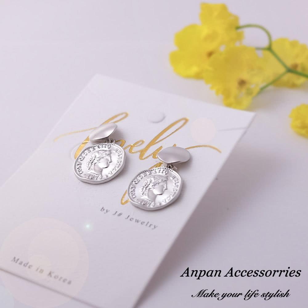【Anpan 愛扮】韓東大門NYU人頭金幣925銀針耳釘耳環-銀
