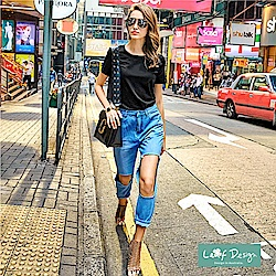 【LEAF DESIGN】歐美時尚100%純棉純色輕柔T恤-黑