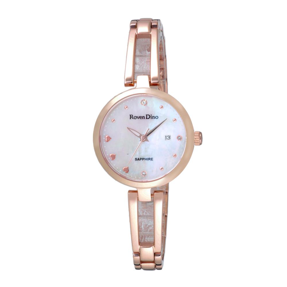 Roven Dino羅梵迪諾 心心相印晶鑽貝殼面腕錶-玫瑰金(RD772RG-358W)