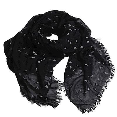 EMPORIO ARMANI 繽紛金屬鉚釘品牌圖騰LOGO造型圍巾(黑)