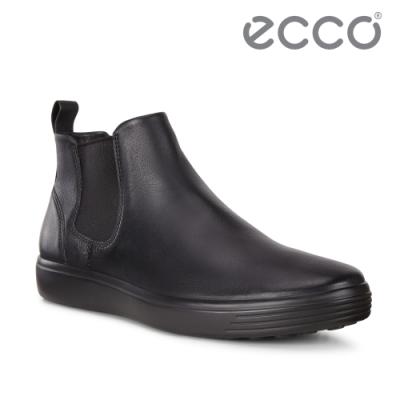 ECCO SOFT 7 M 英倫風格休閒短靴 男-黑