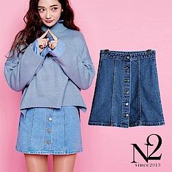下著 車縫排釦設計顯瘦A字牛仔短裙(深藍)N2