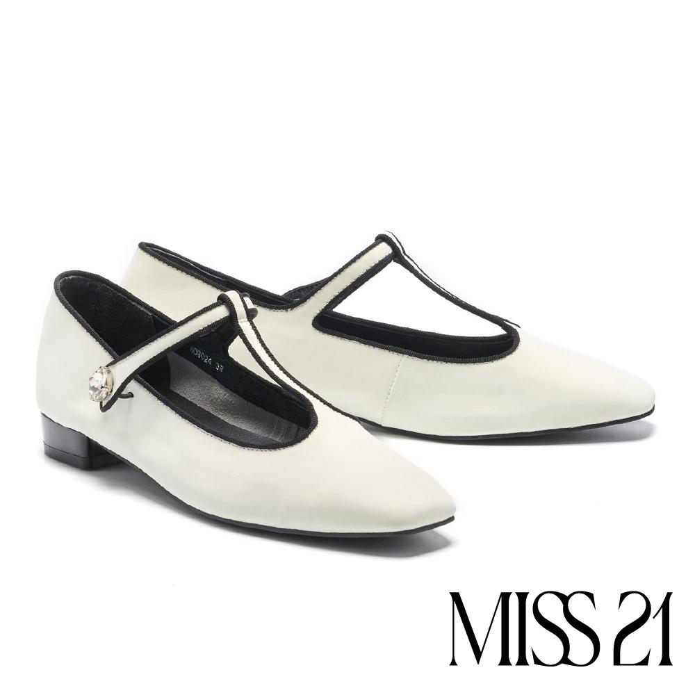低跟鞋 MISS 21 復古時髦水鑽T字帶瑪麗珍低跟鞋-白