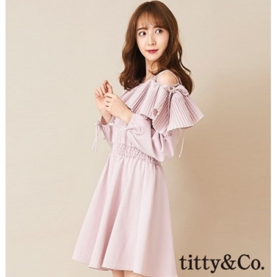 titty&Co.浪漫迷人肩綁帶長袖洋裝(3色)
