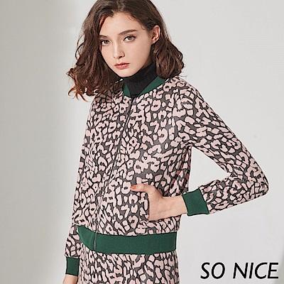 SO NICE俏麗豹紋麂皮棒球外套 @ Y!購物