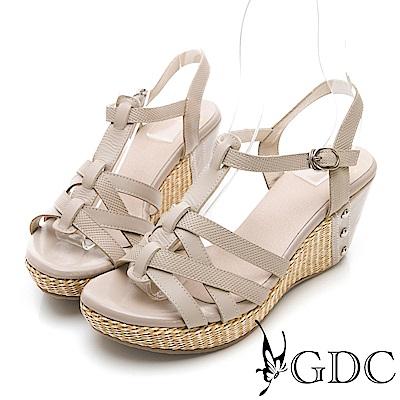 GDC-牛皮女神款交叉設計春夏楔型涼鞋-可可色