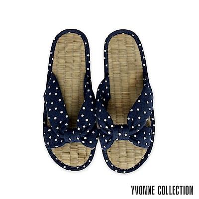 Yvonne Collection以旺 點點交叉藺草拖鞋-丈青L