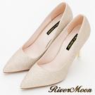 River&Moon跟鞋-素面亮蔥尖頭高跟鞋-金