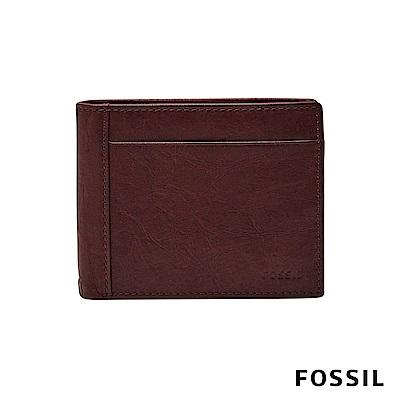 FOSSIL NEEL 真皮證件格零錢袋男夾-黑櫻桃紅色