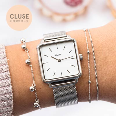 CLUSE LA GARCONNE 方框系列腕錶 (銀框/白面/銀米蘭帶)