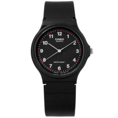 CASIO 卡西歐 簡潔復刻 數字 橡膠手錶-黑色 MQ-24-1B 33mm