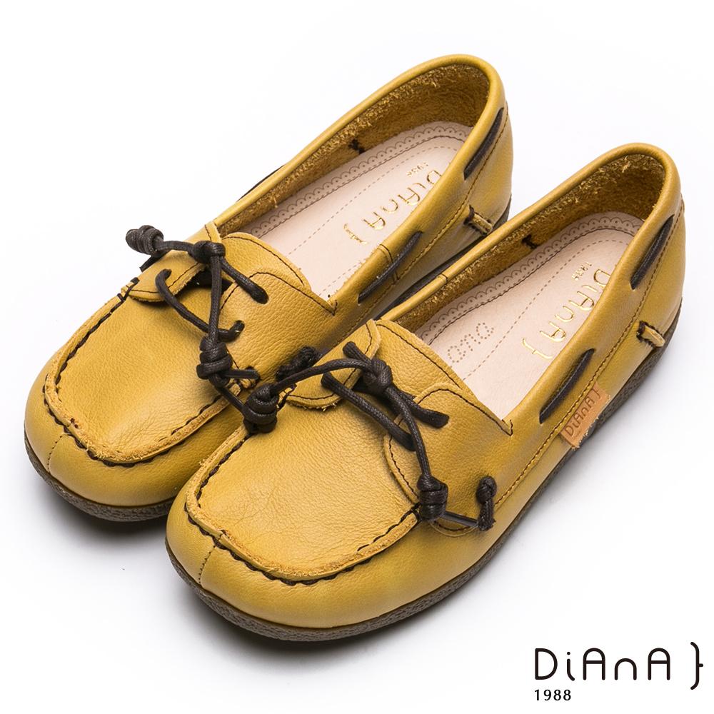 DIANA真皮美式綁帶莫卡辛休閒鞋-漫步雲端厚切焦糖美人-黃