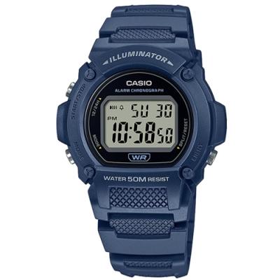 CASIO 卡西歐 運動 計時 LED 鬧鈴 電子數位 手錶 藍色 W-219H-2A 47mm