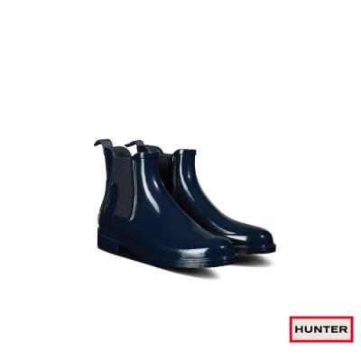 HUNTER - 男鞋-Refined切爾西亮面踝靴 - 海軍藍