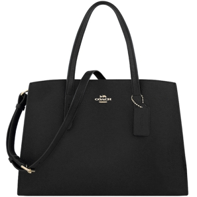 COACH 專櫃款黑色CHARLIE荔枝紋皮革肩背/斜背兩用包-大型