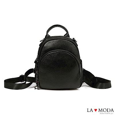 La Moda 質感女孩全真皮頭層牛皮荔枝紋大容量多背法後背包(黑)