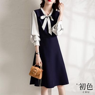 初色  假兩件大領結洋裝-藏青色-(M-XL可選)