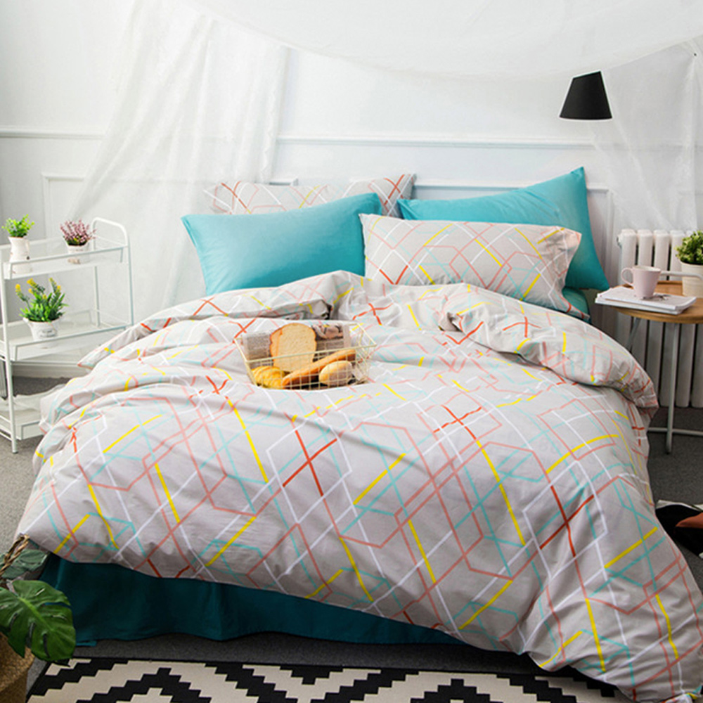 BUNNY LIFE 幾何-加大-簡約精梳純棉床包被套組