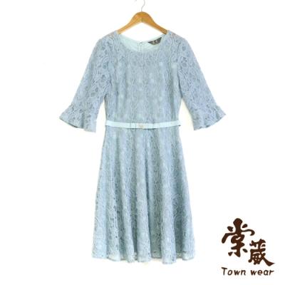 【TOWNWEAR棠葳】顯瘦荷葉袖蕾絲洋裝
