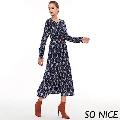 SO NICE俏麗變形蟲印花長洋裝