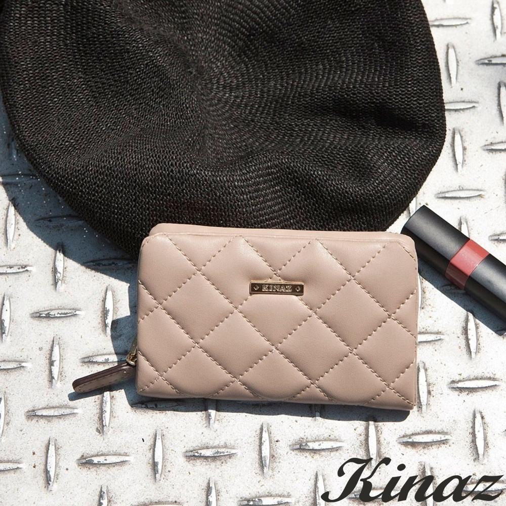 KINAZ 菱格風琴卡片零錢包-自杏飛揚-龐克女孩系列-快