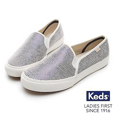 Keds TRIPLE 普普圓點皮革休閒便鞋-藍