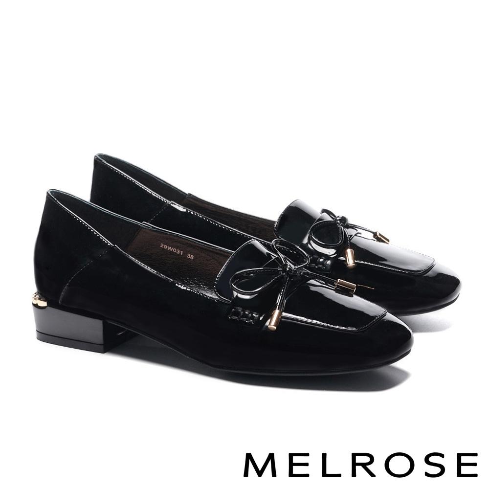 低跟鞋 MELROSE 經典質感蝴蝶結全真皮方頭低跟鞋-黑