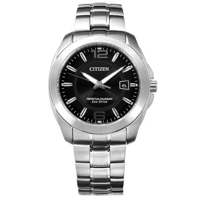 CITIZEN 星辰表 光動能萬年曆日本製造防水100米不鏽鋼手錶-黑色 /40mm