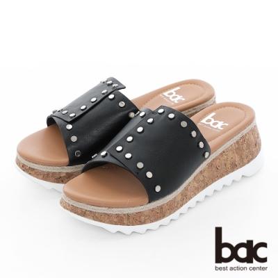 【bac】加州陽光-不對襯一片式鉚釘裝飾厚底台涼拖鞋-黑