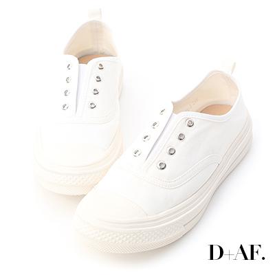 D+AF 活力悠閒.無綁帶設計帆布休閒鞋*白