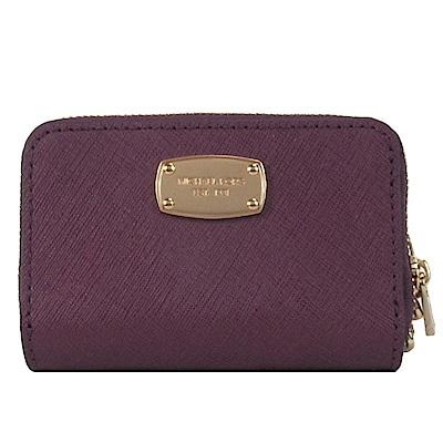 MICHAEL KORS JET SET方牌防刮皮革鑰匙零錢包(紫)