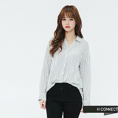 H:CONNECT 韓國品牌 女裝-側開岔條紋配色襯衫-白
